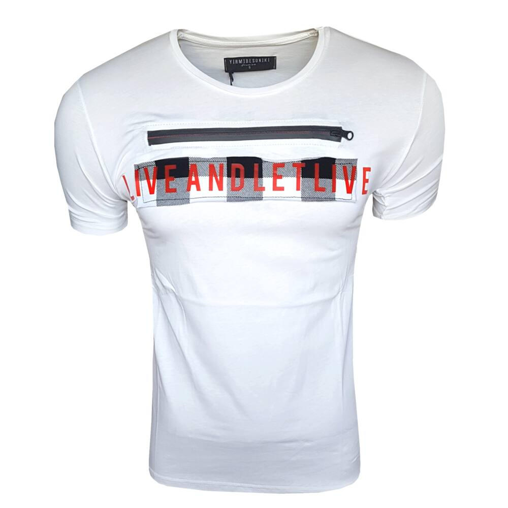 LET LIVE WHITE - Férfi póló - Slimfit szabás